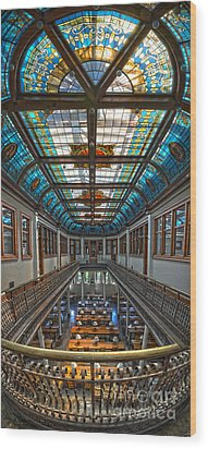 Slocum Hall Romanesque Arcade And Stained-glass Skylight Ohio Wesleyan University Wood Print by Brian Mollenkopf