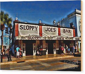 Sloppy Joe's Bar Wood Print by Joan  Minchak