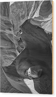 Slot Canyons In Black And White  Wood Print by Saija  Lehtonen