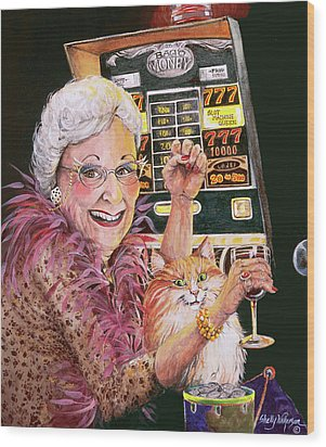 Slot Machine Queen Wood Print by Shelly Wilkerson