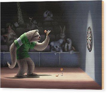 Sloth Darts Wood Print