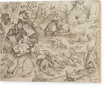 Sloth Pieter Bruegel Drawing Wood Print by