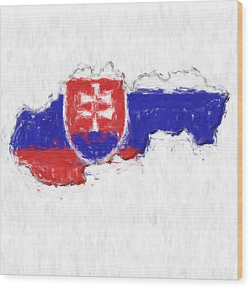 Slovakia Painted Flag Map Wood Print by Antony McAulay