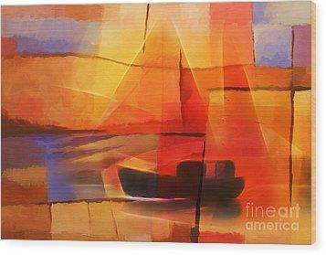 Slow Boat Wood Print by Lutz Baar