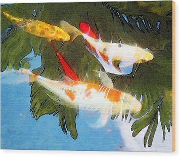 Slow Drift - Colorful Koi Fish Wood Print by Sharon Cummings