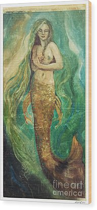 Slumbering Natural Siren Wood Print