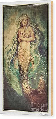Slumbering Siren Illustration Wood Print