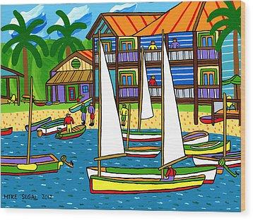 Small Boat Regatta - Cedar Key Wood Print by Mike Segal