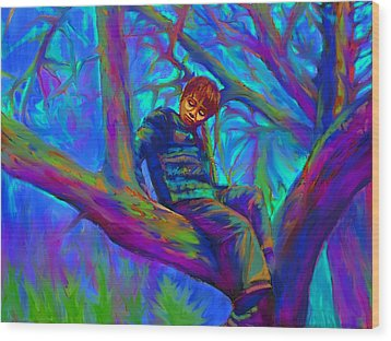 Small Boy In Large Tree Wood Print