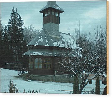 Small Church Romania Wood Print by Andreea Alecu
