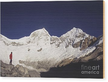 Small Climber Big Peaks Wood Print by James Brunker