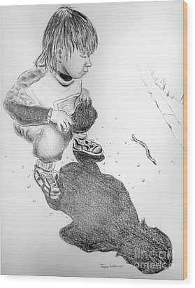 Wood Print featuring the drawing Small Discovery by Joyce Gebauer