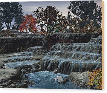 Small Falls At Sunset Wood Print by John Pangia