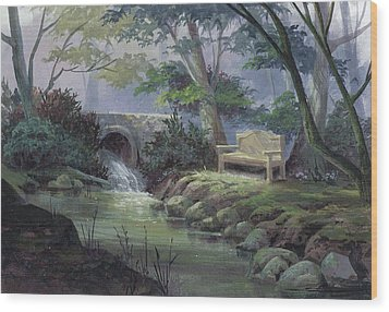 Small Falls Descanso Wood Print by Michael Humphries