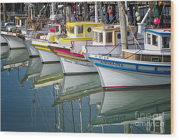 Small Fishing Boats Of San Francisco  Wood Print by George Oze
