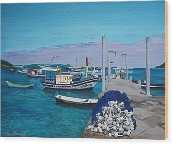 Small Pier In The Afternoon-buzios Wood Print by Chikako Hashimoto Lichnowsky
