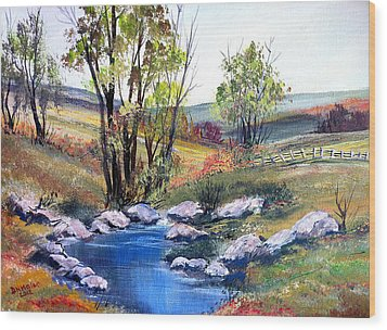 Wood Print featuring the painting Small Pond by Dorothy Maier
