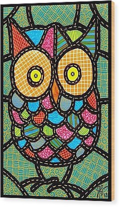 Small Quilted Owl Wood Print by Jim Harris