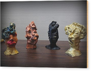 Small Sculptures  Wood Print by Wynter Peguero