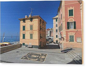 Wood Print featuring the photograph small square in Sori by Antonio Scarpi
