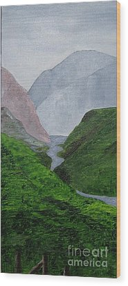 Wood Print featuring the painting Small Stream In The Hills by Susanne Baumann
