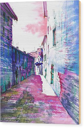 small streets of the city of Gubbio-1 Wood Print by Khromykh Natalia