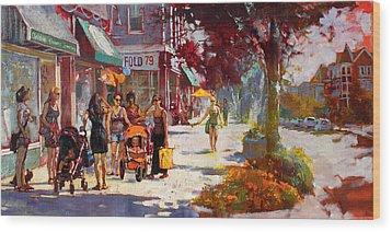 Small Talk In Elmwood Ave Wood Print by Ylli Haruni