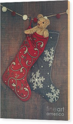Small Teddy Bear In Stocking For Christmas Wood Print by Sandra Cunningham