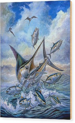 Small Tuna And Blue Marlin Jumping Wood Print by Terry Fox