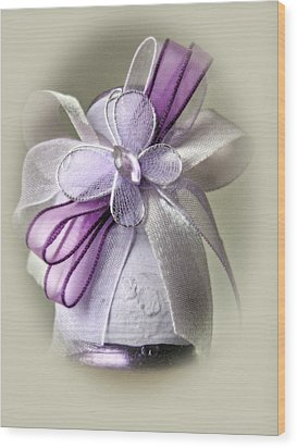 Small Vase With Butterfly And Violet Ribbons Wood Print by Vlad Baciu