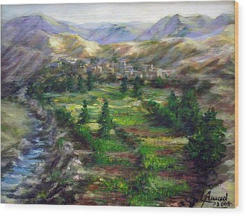 Wood Print featuring the painting Village In The Mountain  by Laila Awad Jamaleldin