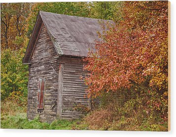 Wood Print featuring the photograph Small Wooden Shack In The Autumn Colors by Jeff Folger