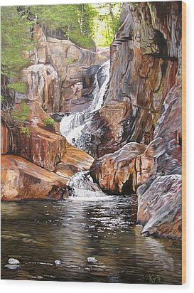 Smalls Falls Maine Wood Print by Kevin F Heuman