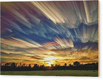 Smeared Sky Sunset Wood Print