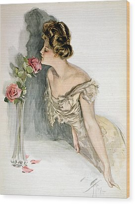 Smelling The Roses Wood Print by Harrison Fisher