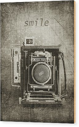 Smile For The Camera - Sepia Wood Print by Karen Stephenson
