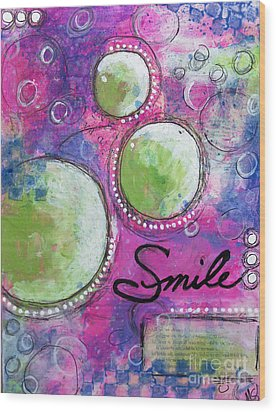 Wood Print featuring the painting Smile by Melissa Sherbon