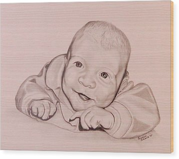 Wood Print featuring the drawing Smile by Sharon Schultz
