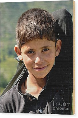 Wood Print featuring the photograph Smiling Boy In The Swat Valley - Pakistan by Imran Ahmed