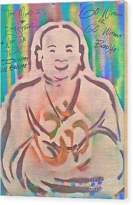 Smiling Brown Buddha  Wood Print by Tony B Conscious