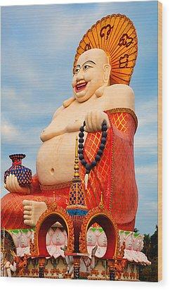 smiling Buddha Wood Print by Adrian Evans