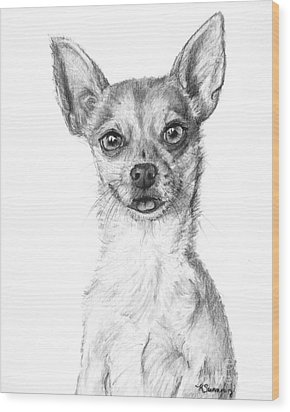 Smiling Chihuahua In Charcoal Wood Print by Kate Sumners