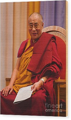 Smiling Dalai Lama Wood Print by Craig Lovell