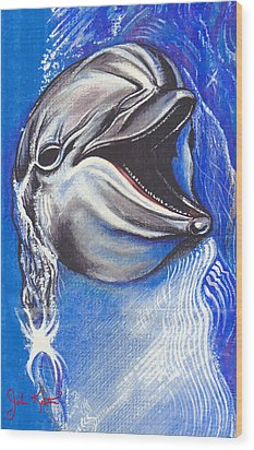 Smiling Dolphin Wood Print by John Keaton