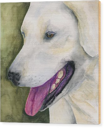 Wood Print featuring the painting Smiling Lab by Stephen Anderson