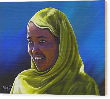 Wood Print featuring the painting Smiling Lady by Anthony Mwangi