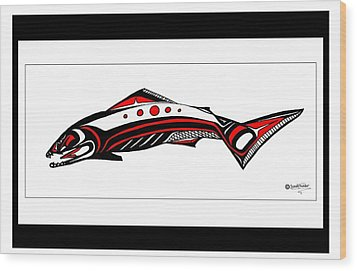 Smiling Salmon Wood Print by Speakthunder Berry