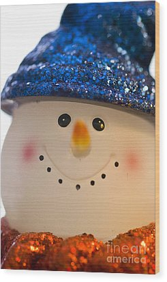 Smiling Snowman Wood Print by Birgit Tyrrell