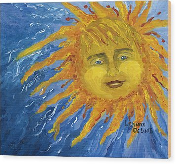 Wood Print featuring the painting Smiling Yellow Sun In Blue Sky by Lenora  De Lude