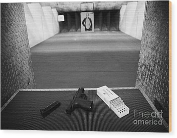 Smith And Wesson 9mm Handgun With Ammunition At A Gun Range In Florida Wood Print by Joe Fox